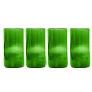 Wine Punts Flat Bottom Wine Glass (Set of 4); Green