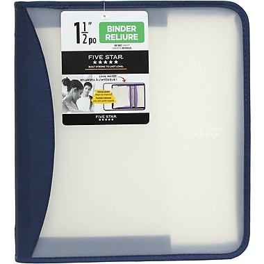 Five Star® - Reliure à glissière en poly de 1,5 po avec poche de rangement expansible, variée