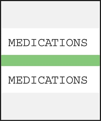 Medical Arts Press Standard Preprinted Chart Divider Tabs; Medications Light Green