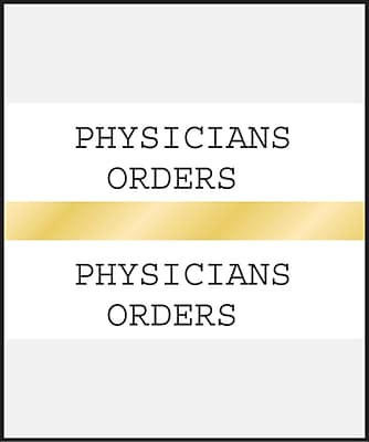 Medical Arts Press Standard Preprinted Chart Divider Tabs; Physicians Orders Gold