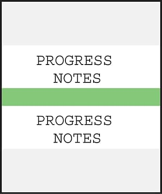 Medical Arts Press Standard Preprinted Chart Divider Tabs; Progress Notes Light Green