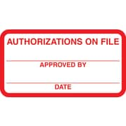 "Patient Record Labels; Authorizations On File, Red and White,1-3/4x3-1/4"", 500 Labels"