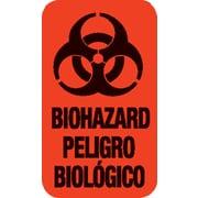 "Biohazard Pre-Printed Labels; Standard, Vertical, Red, 7/8x1-1/2"", 500 Labels"