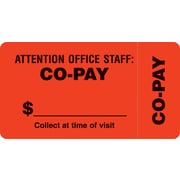 "File Folder Insurance Labels; Co-Pay, Fluorescent Red, 1-3/4x3-1/4"", 500 Labels"