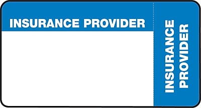 File Folder Insurance Labels; Insurance Provider Blue and White 1 3 4x3 1 4 500 Labels