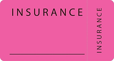 File Folder Insurance Labels; Insurance Fluorescent Pink 1 3 4x3 1 4 500 Labels