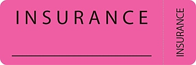 File Folder Insurance Labels; Insurance Fluorescent Pink 1x3 500 Labels