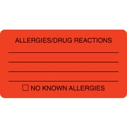 "Allergy Warning Medical Labels; Allergies/Drug Reactions, Fluorescent Red, 1-3/4x3-1/4"", 250 Labels"