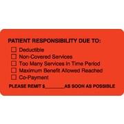 """Patient Insurance Labels; Patient Responsibility, Fluorescent Red, 1-3/4x3-1/4"""", 500 Labels"""