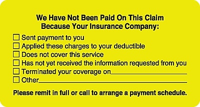 Patient Insurance Labels; No Payment Checklist Fl Chartreuse 1 3 4x3 1 4 500 Labels