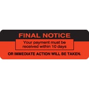 """Collection & Notice Collection Labels; Final Notice, Fluorescent Red, 1x3"""", 500 Labels"""
