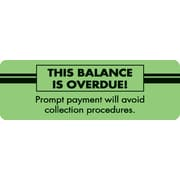"Past Due Collection Labels; This Balance Is Overdue!, Fluorescent Green, 1x3"", 500 Labels"