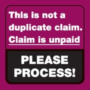 """Insurance Carrier Collection Labels; This is not a duplicate claim., Red, 1-1/2x1-1/2"""", 500 Labels"""