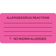 "Allergy Warning Medical Labels; Allergies/Drug Reactions, Fluorescent Pink, 1-3/4x3-1/4"", 500 Lbls"