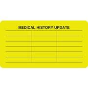 "Chart Alert Medical Labels; Medical History Update, Fluorescent Chartreuse, 1-3/4x3-1/4"", 500 Labels"