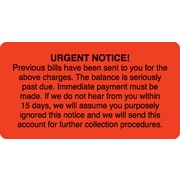 "Past Due Collection Labels; Urgent Notice, Fluorescent Red, 1-3/4x3-1/4"", 500 Labels"