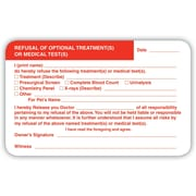 Veterinary Consent/Release Medical Labels, Refusal of Test, White, 2.5 x 4 inch, 100 Labels