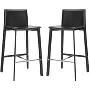Safavieh Journey 30'' Bar Stool with Cushion (Set of 2); Black