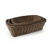 Neoflam Plasket 3-Piece Poly-Wicker Rectangle Basket Set; Brown