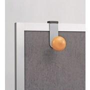 Alba Cubicle Garment Peg, 1 Hook, 2-19/50 x 7-8/9 x 4-31/50, Metallic Grey