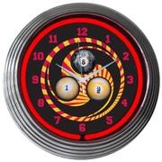 Neonetics Bar and Game Room 15'' Billiard 1,8,9 Wall Clock