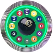 Neonetics Bar and Game Room 15'' Billiard Ball Wall Clock