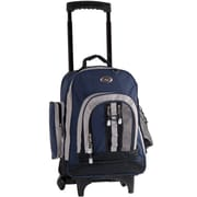 CalPak Awestruck Double Compartment Rolling Backpack; Navy Blue