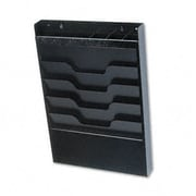 Buddy Products Wall File with Supplies Organizer, Letter, Four Pockets, Black