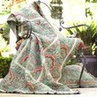 Bacati French Twin Quilt in Green and Salmon