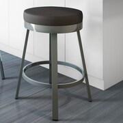 Amisco Clock 26'' Swivel Bar Stool with Cushion; Magnetite