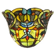 River of Goods Webbed Heart Tiffany Style Stained Glass Wireless LED Wall Sconce; Green