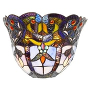 River of Goods Webbed Heart Tiffany Style Stained Glass Wireless LED Wall Sconce; Light Purple
