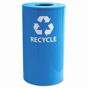 Ex-Cell Metal Products Ex-Cell Round Indoor-Outdoor 33-Gal Industrial Recycling Bin; Blue
