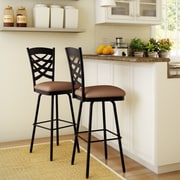 Amisco Nest 31.63'' Swivel Bar Stool; Textured Dark Brown/Medium Brown