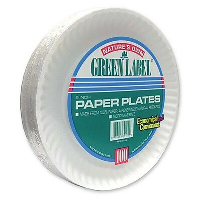 AJM PACKAGING CORP. Paper Plates, Green Label, 9'' Plate, 1200/CT, White WYF078277047115