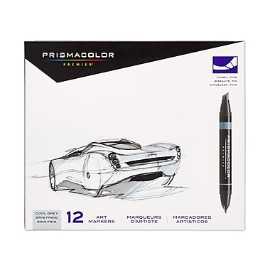 PrismaColour Premier Double Ended Chisel Tip and Fine Tip Art Markers, Cool Grey, 12/Pack