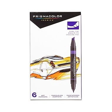 PrismaColour Premier Double Ended Chisel Tip and Fine Tip Art Markers, 6/Pack