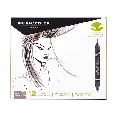 PrismaColour Premier Double Ended Brush Tip and Fine Tip Markers, Warm Grey, 12/Pack