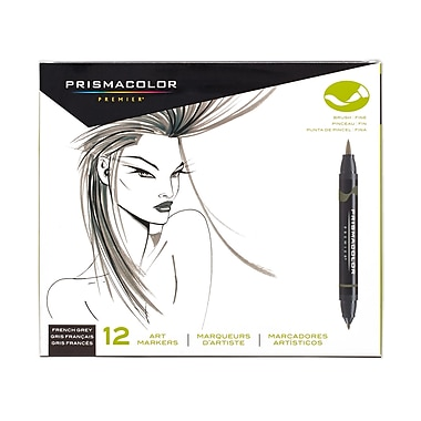 PrismaColour Premier Double Ended Brush Tip and Fine Tip Art Markers, French Grey, 12/Pack