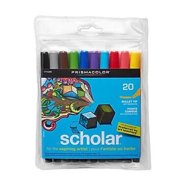 PrismaColour Bullet Tip Scholar Markers, Assorted Colours, 20/Pack