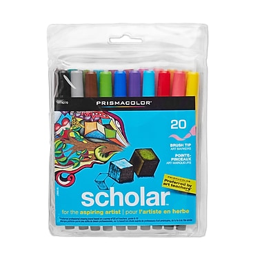 PrismaColour Brush Tip Scholar Markers, Assorted Colours, 20/Pack