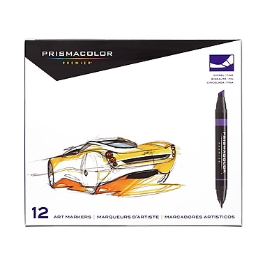 PrismaColour Premier Double Ended Chisel Tip and Fine Tip Art Markers, 12/Pack