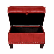 Opulence Home Madrid Leather Storage Ottoman; Santiago Red