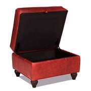 Opulence Home Benjamin Leather Storage Ottoman; Bolero Cherry