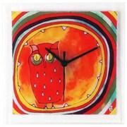 River City Clocks Square Glass Art Clock with Owl
