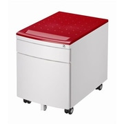Reo-Smart Posture 2-Drawer Children's Metal Lockable Mobile Filing Cabinet Seat; Red