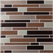 Achim Importing Co Piano 9.13'' x 9.13'' Glazed Glass Tile in Coffee and Beige