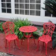 Meadow Decor 3 Piece Dining Set; Red