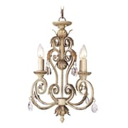 Livex Lighting Iron and Crystal Four Light Mini Chandelier in Crackled Antique Ivory