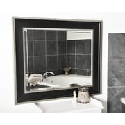 Rayne Mirrors Black With Silver Cage Wall Mirror; 34.25'' H x 30.25'' W x 2'' D